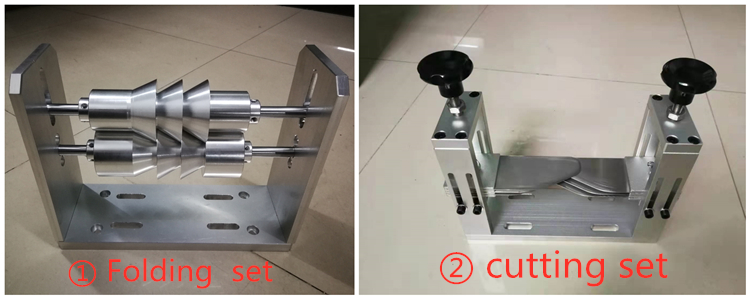 Crease roller kit for forming structure of one-to-two folding cloth wheel worktable use for adult mask machine